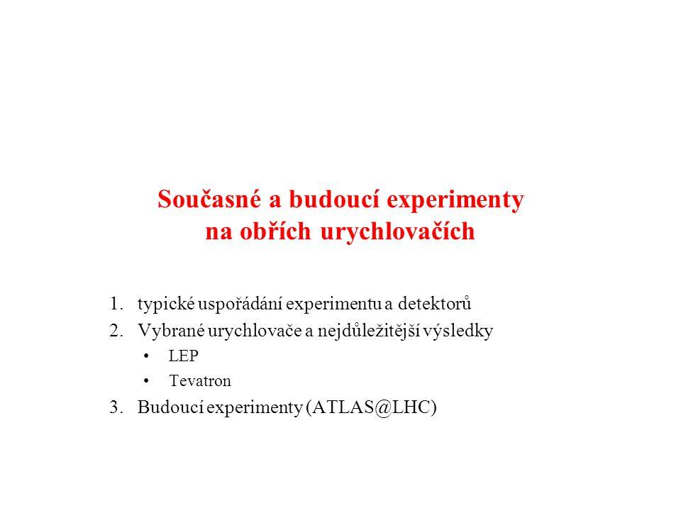 Současné a budoucí experimenty na obřích urychlovačích 1.typické uspořádání experimentu a detektorů 2.Vybrané urychlovače a nejdůležitější výsledky LE