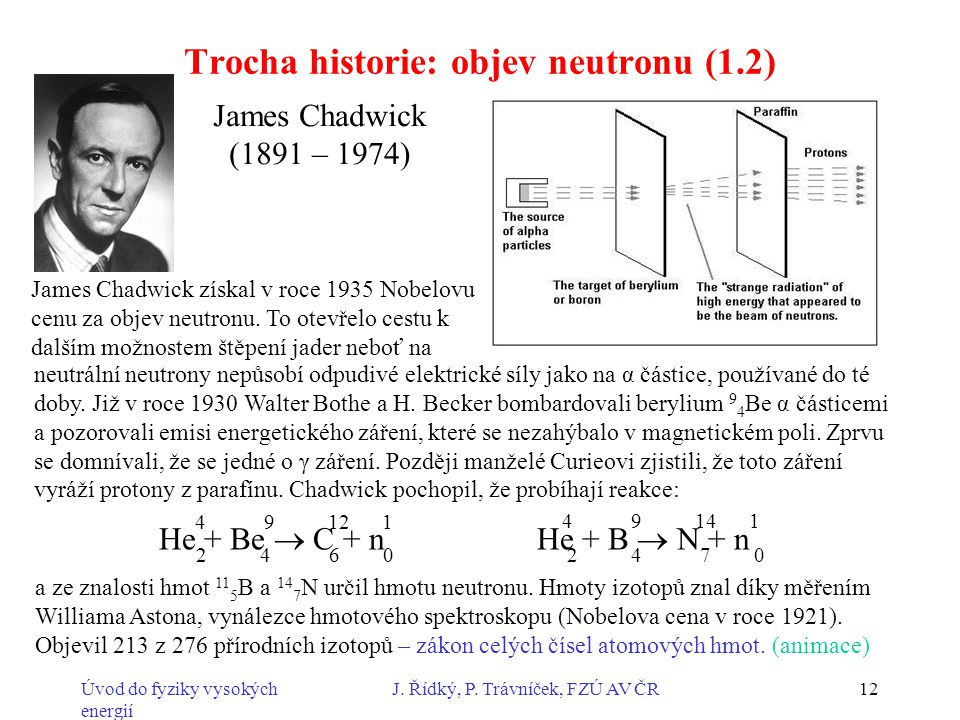 Úvod do fyziky vysokých energií J. Řídký, P. Trávníček, FZÚ AV ČR12 James Chadwick získal v roce 1935 Nobelovu cenu za objev neutronu. To otevřelo ces