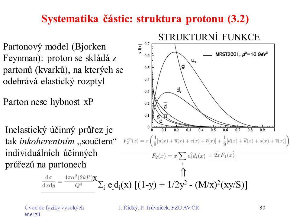 Úvod do fyziky vysokých energií J. Řídký, P. Trávníček, FZÚ AV ČR30 Systematika částic: struktura protonu (3.2) Partonový model (Bjorken Feynman): pro
