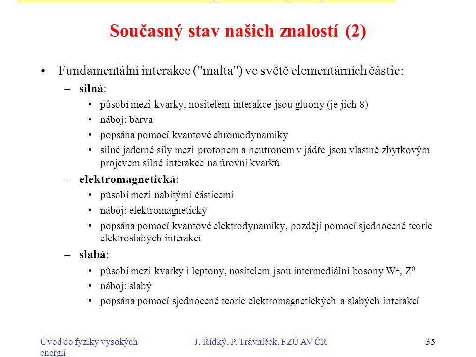 Úvod do fyziky vysokých energií J. Řídký, P. Trávníček, FZÚ AV ČR35 Současný stav našich znalostí (2) Fundamentální interakce (