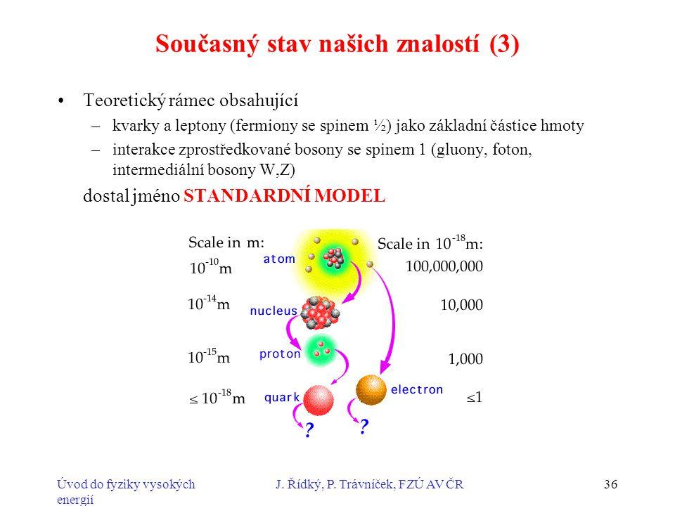 Úvod do fyziky vysokých energií J. Řídký, P. Trávníček, FZÚ AV ČR36 Současný stav našich znalostí (3) Teoretický rámec obsahující –kvarky a leptony (f