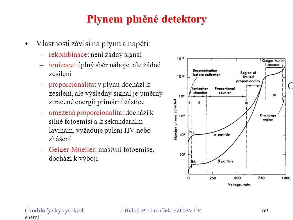 Úvod do fyziky vysokých energií J. Řídký, P. Trávníček, FZÚ AV ČR69 Plynem plněné detektory Vlastnosti závisí na plynu a napětí: –rekombinace: není žá