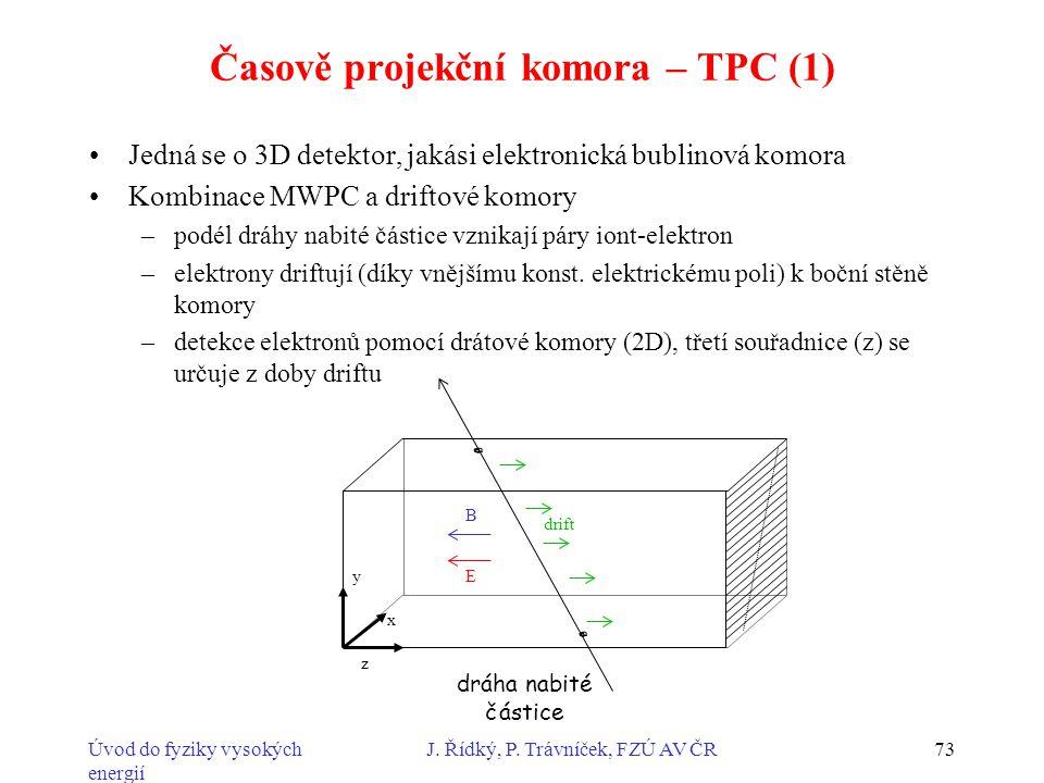 Úvod do fyziky vysokých energií J. Řídký, P. Trávníček, FZÚ AV ČR73 Časově projekční komora – TPC (1) Jedná se o 3D detektor, jakási elektronická bubl