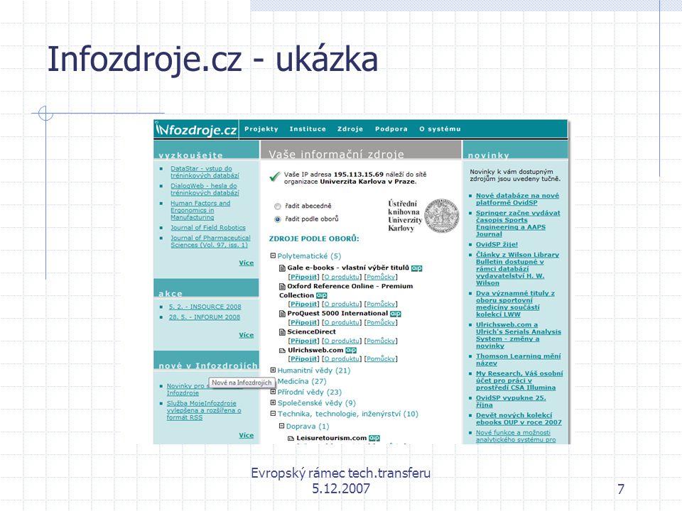 Evropský rámec tech.transferu 5.12.20078 Příklad webového agregátora ProQuest 5000 International vstup do databáze ProQuest: http://proquest.umi.com/login  Informační služba ProQuest z produkce firmy ProQuest Information & Learning  Polytematická částečně plnotextová databáze  Obsahuje cca 10 000 (stav ke květnu 2007); více jak 4 800 titulů je dostupných v plných textech (od roku 1992), z více jak 2900 titulů jsou články poskytovány ve formátu full-image a z 2700 ve formátu Text+Graphics (od roku 1995).