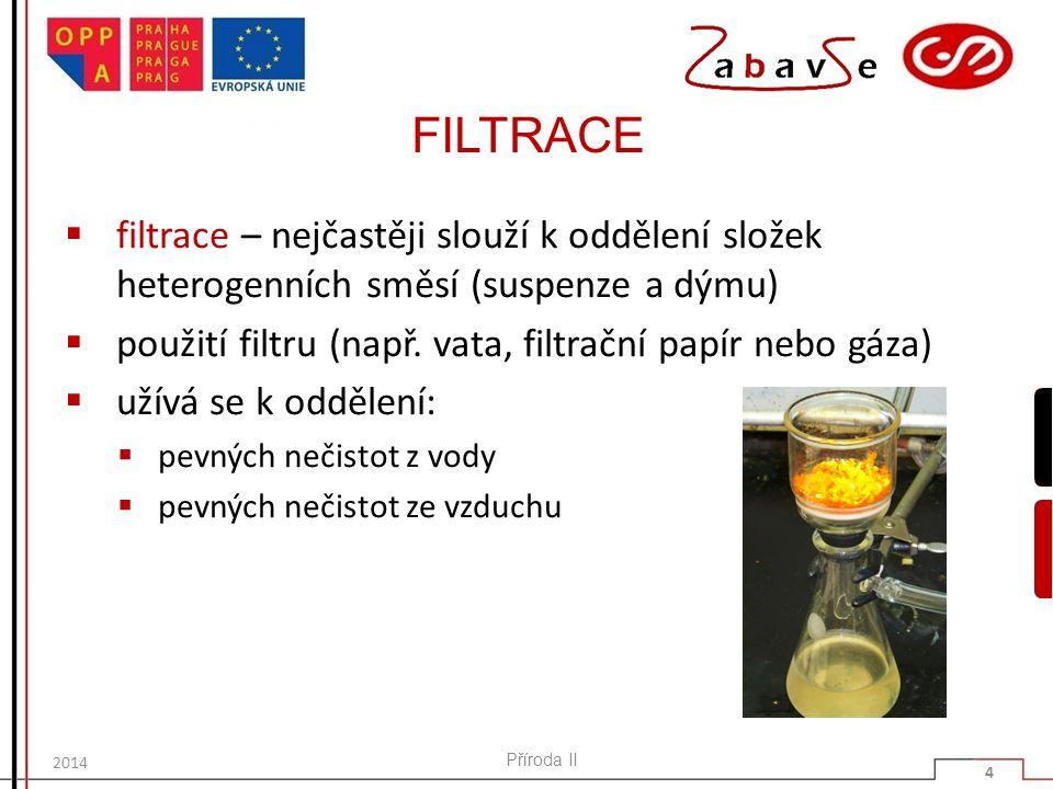 FILTRACE  filtrace – nejčastěji slouží k oddělení složek heterogenních směsí (suspenze a dýmu)  použití filtru (např. vata, filtrační papír nebo gáz