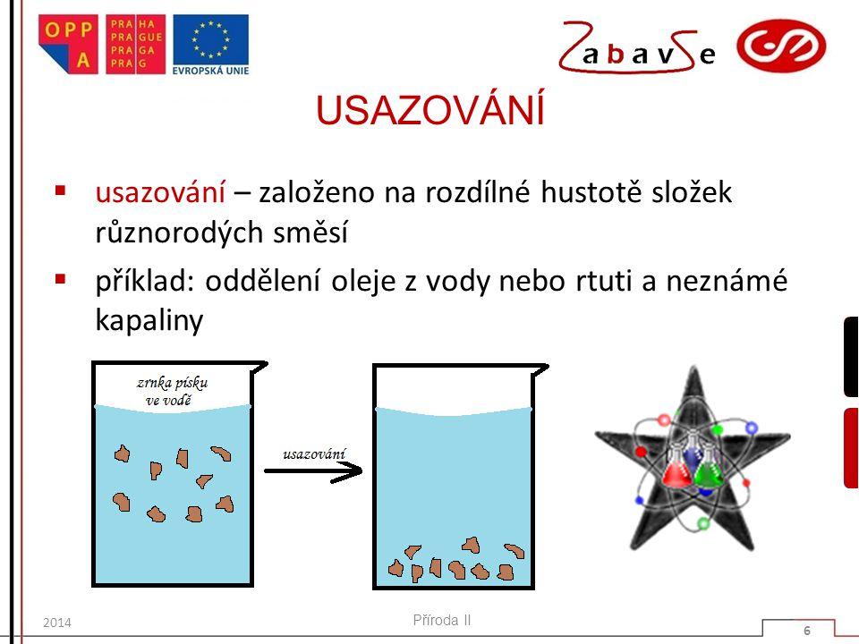 USAZOVÁNÍ  usazování – založeno na rozdílné hustotě složek různorodých směsí  příklad: oddělení oleje z vody nebo rtuti a neznámé kapaliny Příroda I