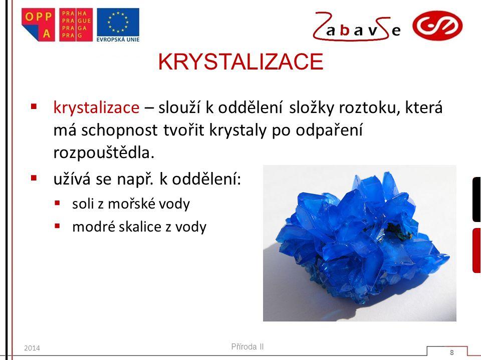 KRYSTALIZACE  krystalizace – slouží k oddělení složky roztoku, která má schopnost tvořit krystaly po odpaření rozpouštědla.  užívá se např. k odděle