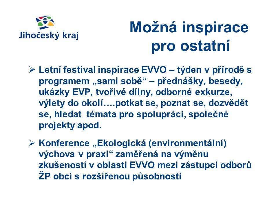 """Možná inspirace pro ostatní  Letní festival inspirace EVVO – týden v přírodě s programem """"sami sobě"""" – přednášky, besedy, ukázky EVP, tvořivé dílny,"""