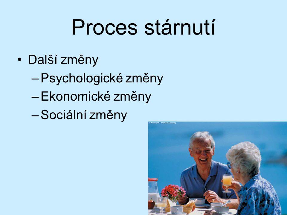 Proces stárnutí Fyziologické změny –Imunitní systém –Zažívací trakt –Dysfagie—problémy s polykáním –Ztráta chrupu –Ochabování smyslů a jiné fyzické zm