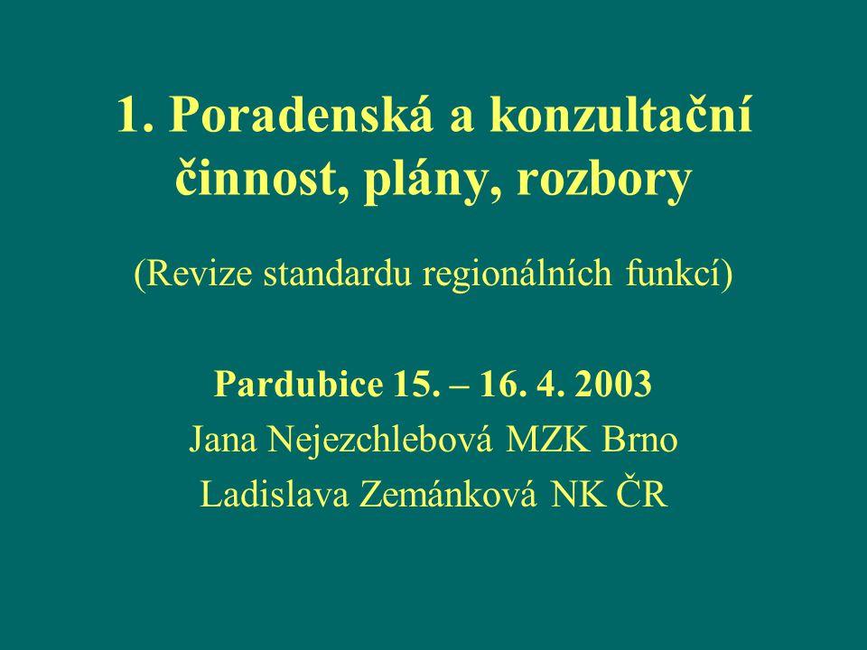 1. Poradenská a konzultační činnost, plány, rozbory (Revize standardu regionálních funkcí) Pardubice 15. – 16. 4. 2003 Jana Nejezchlebová MZK Brno Lad