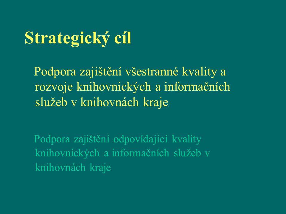 Strategický cíl Podpora zajištění všestranné kvality a rozvoje knihovnických a informačních služeb v knihovnách kraje Podpora zajištění odpovídající k