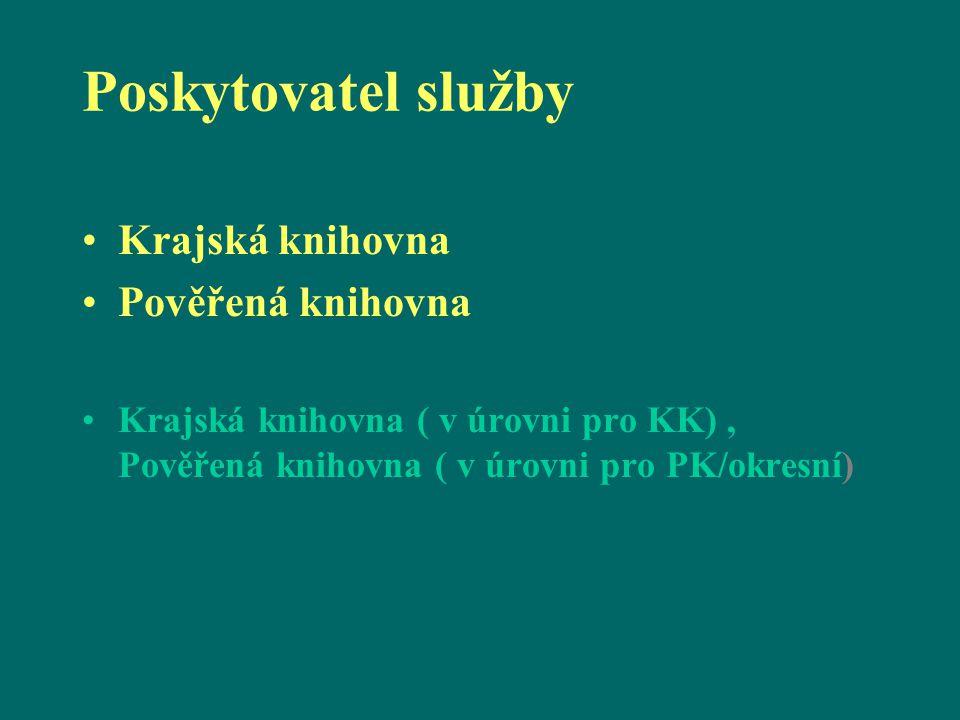 Poskytovatel služby Krajská knihovna Pověřená knihovna Krajská knihovna ( v úrovni pro KK), Pověřená knihovna ( v úrovni pro PK/okresní)