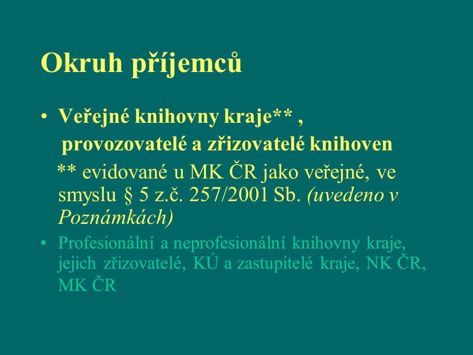 Okruh příjemců Veřejné knihovny kraje**, provozovatelé a zřizovatelé knihoven ** evidované u MK ČR jako veřejné, ve smyslu § 5 z.č. 257/2001 Sb. (uved