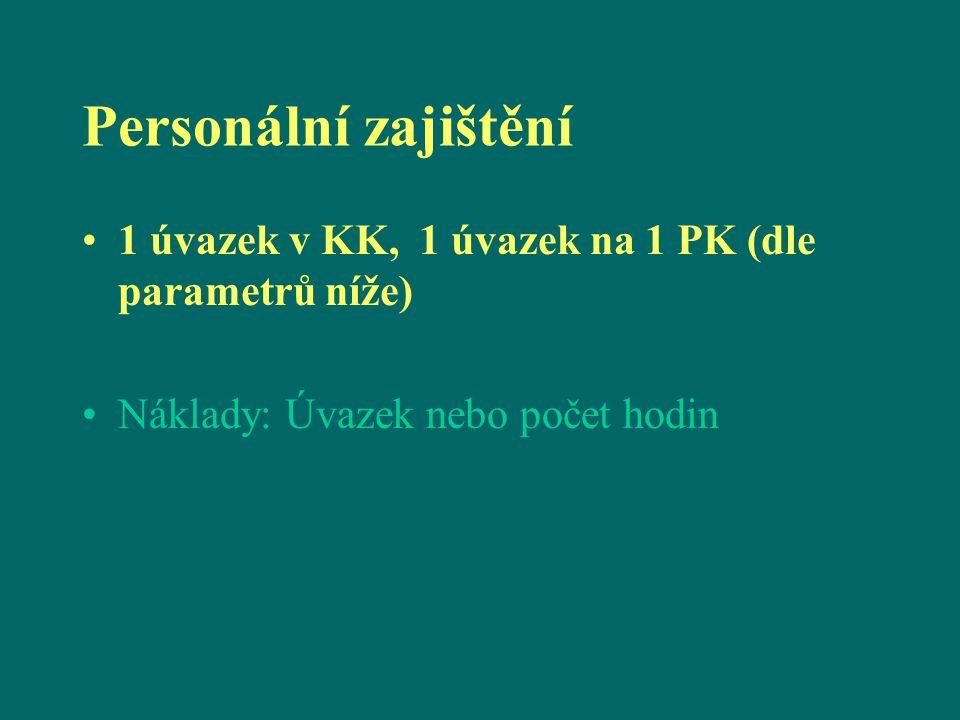 Personální zajištění 1 úvazek v KK, 1 úvazek na 1 PK (dle parametrů níže) Náklady: Úvazek nebo počet hodin