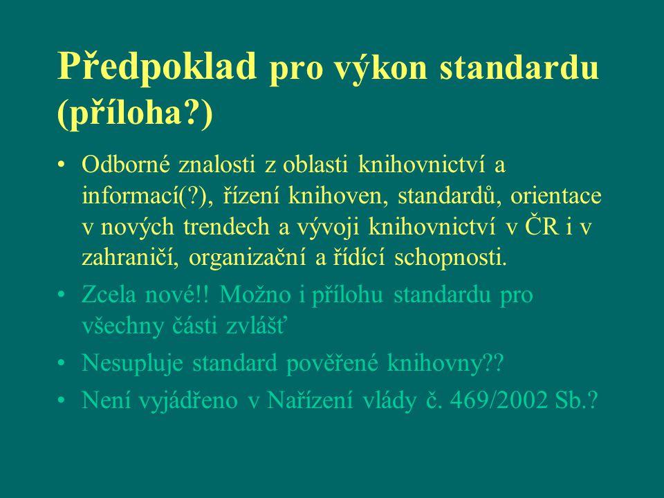 Předpoklad pro výkon standardu (příloha?) Odborné znalosti z oblasti knihovnictví a informací(?), řízení knihoven, standardů, orientace v nových trendech a vývoji knihovnictví v ČR i v zahraničí, organizační a řídící schopnosti.