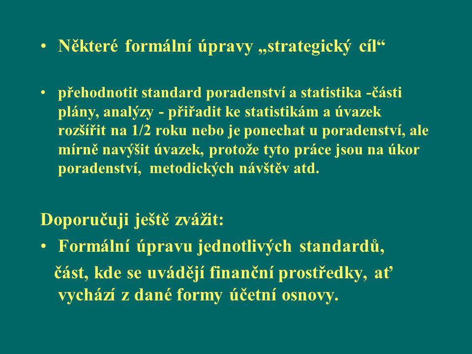 """Některé formální úpravy """"strategický cíl"""" přehodnotit standard poradenství a statistika -části plány, analýzy - přiřadit ke statistikám a úvazek rozší"""