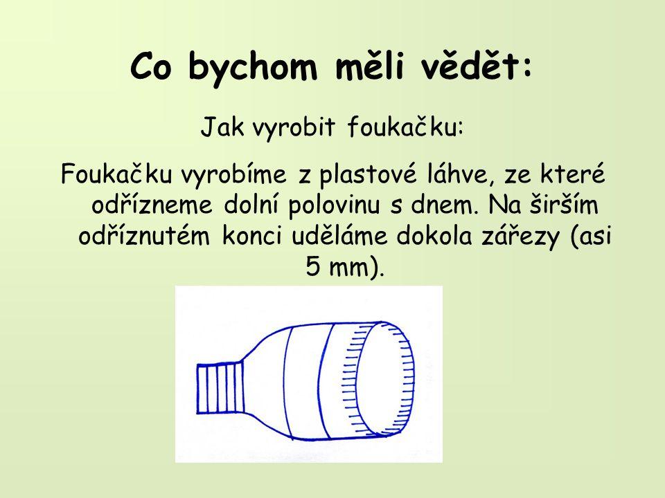 Co bychom měli vědět: Jak vyrobit foukačku: Foukačku vyrobíme z plastové láhve, ze které odřízneme dolní polovinu s dnem.