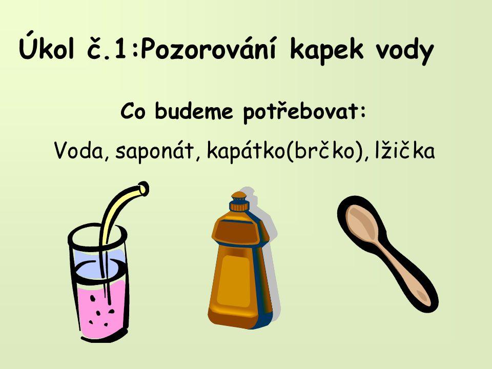 Úkol č.1:Pozorování kapek vody Co budeme potřebovat: Voda, saponát, kapátko(brčko), lžička