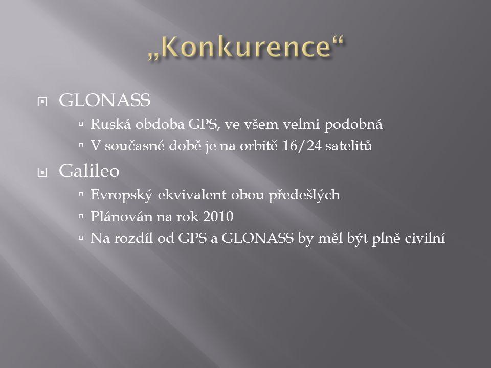  GLONASS  Ruská obdoba GPS, ve všem velmi podobná  V současné době je na orbitě 16/24 satelitů  Galileo  Evropský ekvivalent obou předešlých  Pl