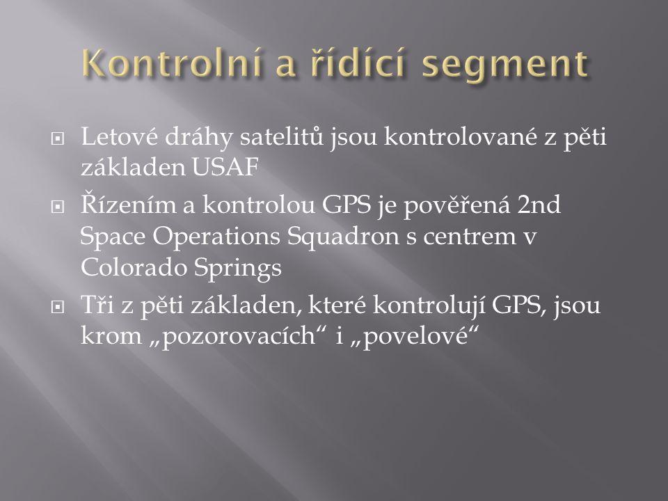  Letové dráhy satelitů jsou kontrolované z pěti základen USAF  Řízením a kontrolou GPS je pověřená 2nd Space Operations Squadron s centrem v Colorad