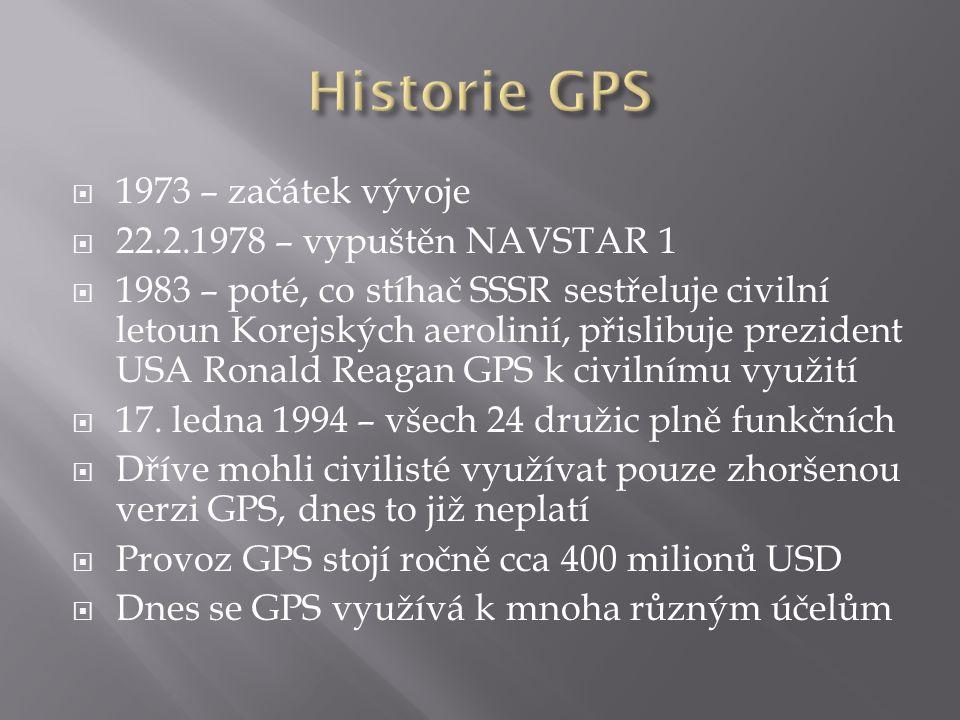  1973 – začátek vývoje  22.2.1978 – vypuštěn NAVSTAR 1  1983 – poté, co stíhač SSSR sestřeluje civilní letoun Korejských aerolinií, přislibuje prez