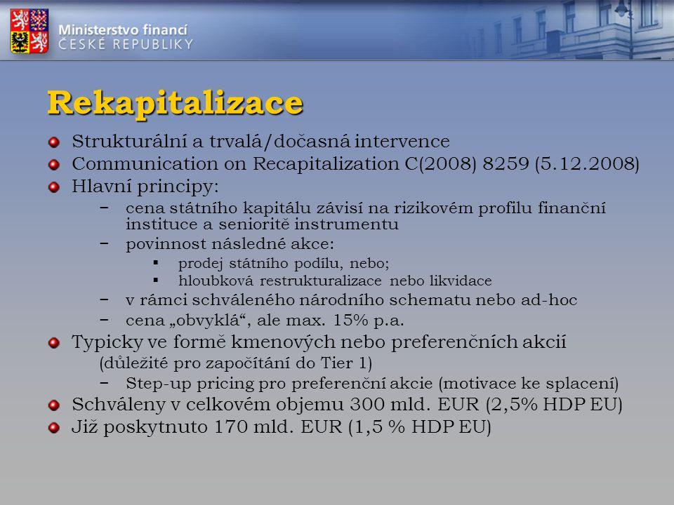 Rekapitalizace Strukturální a trvalá/dočasná intervence Communication on Recapitalization C(2008) 8259 (5.12.2008) Hlavní principy: −cena státního kap