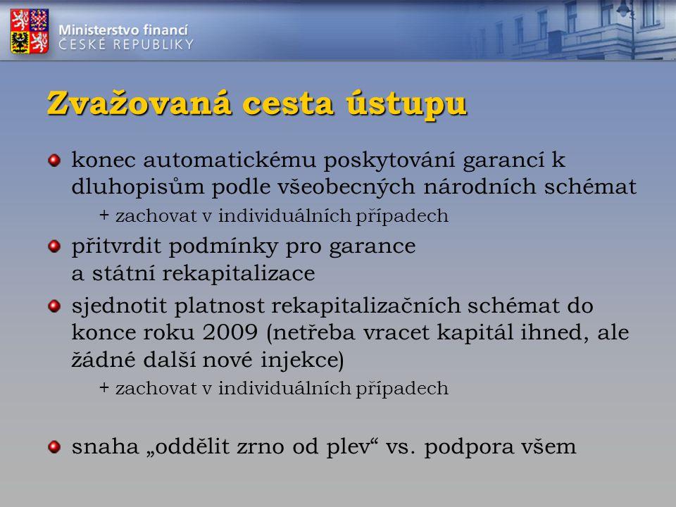 Zvažovaná cesta ústupu konec automatickému poskytování garancí k dluhopisům podle všeobecných národních schémat + zachovat v individuálních případech