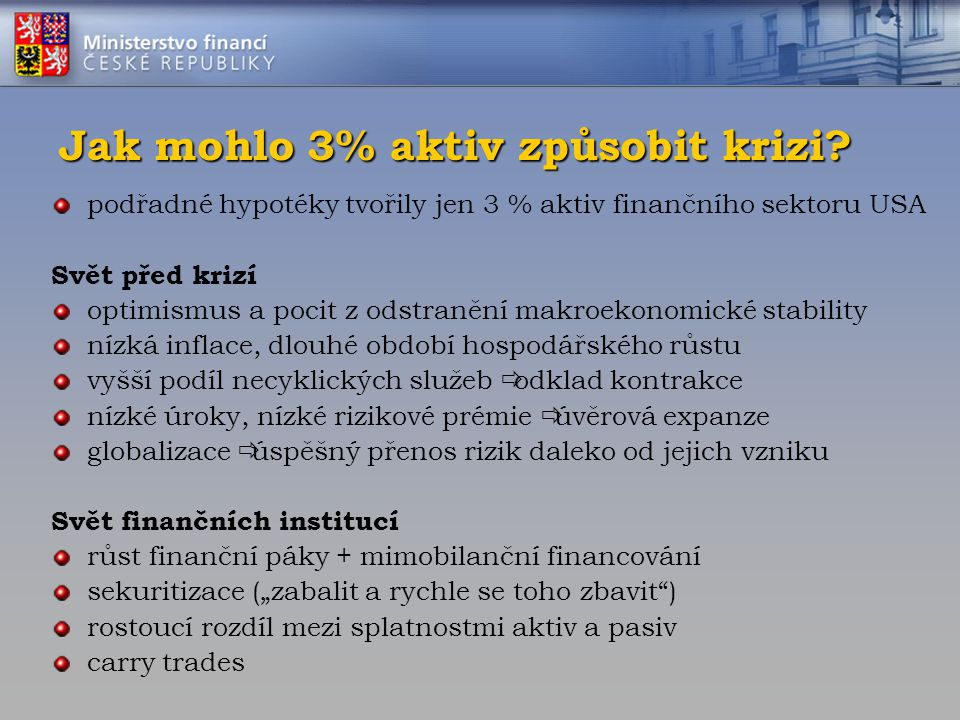 Jak mohlo 3% aktiv způsobit krizi? podřadné hypotéky tvořily jen 3 % aktiv finančního sektoru USA Svět před krizí optimismus a pocit z odstranění makr