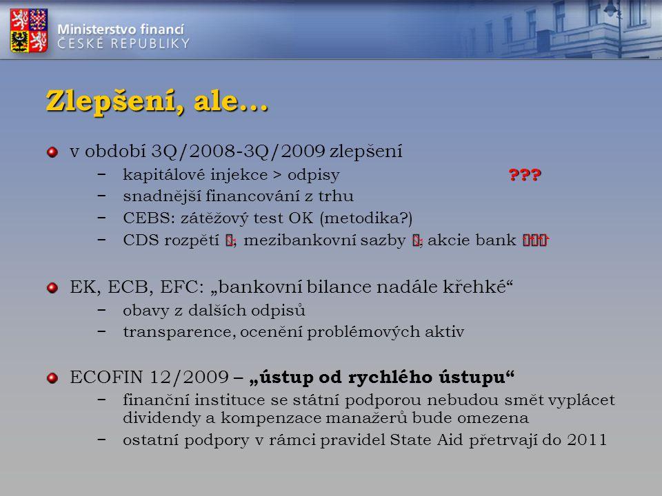 Zlepšení, ale... v období 3Q/2008-3Q/2009 zlepšení ??? −kapitálové injekce > odpisy ??? −snadnější financování z trhu −CEBS: zátěžový test OK (metodik