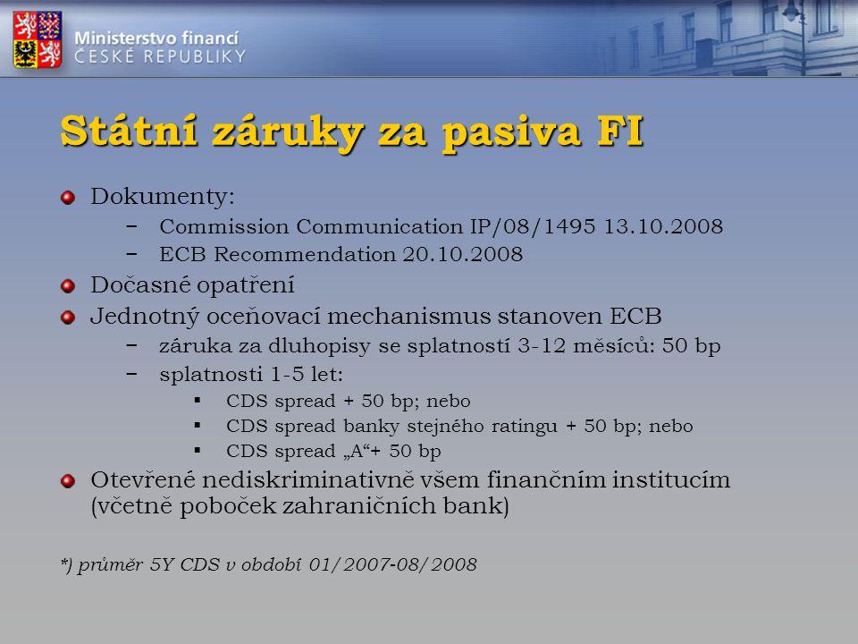 Státní záruky za pasiva FI Dokumenty: −Commission Communication IP/08/1495 13.10.2008 −ECB Recommendation 20.10.2008 Dočasné opatření Jednotný oceňova
