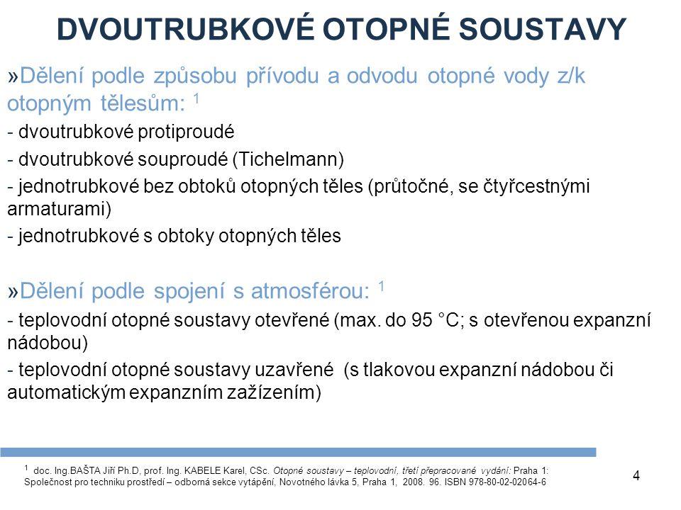 DVOUTRUBKOVÉ OTOPNÉ SOUSTAVY 4 »Dělení podle způsobu přívodu a odvodu otopné vody z/k otopným tělesům: 1 - dvoutrubkové protiproudé - dvoutrubkové souproudé (Tichelmann) - jednotrubkové bez obtoků otopných těles (průtočné, se čtyřcestnými armaturami) - jednotrubkové s obtoky otopných těles »Dělení podle spojení s atmosférou: 1 - teplovodní otopné soustavy otevřené (max.