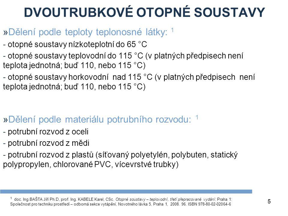 DVOUTRUBKOVÉ OTOPNÉ SOUSTAVY 5 »Dělení podle teploty teplonosné látky: 1 - otopné soustavy nízkoteplotní do 65 °C - otopné soustavy teplovodní do 115 °C (v platných předpisech není teplota jednotná; buď 110, nebo 115 °C) - otopné soustavy horkovodní nad 115 °C (v platných předpisech není teplota jednotná; buď 110, nebo 115 °C) »Dělení podle materiálu potrubního rozvodu: 1 - potrubní rozvod z oceli - potrubní rozvod z mědi - potrubní rozvod z plastů (síťovaný polyetylén, polybuten, statický polypropylen, chlorované PVC, vícevrstvé trubky) 1 doc.