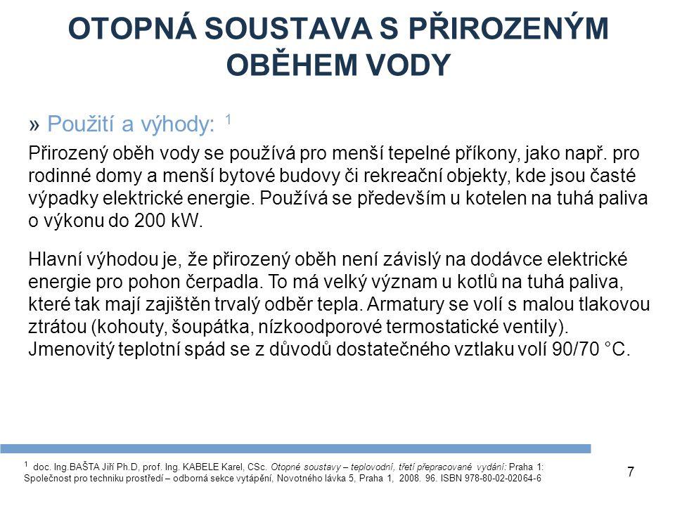 OTOPNÁ SOUSTAVA S PŘIROZENÝM OBĚHEM VODY 7 1 doc.Ing.BAŠTA Jiří Ph.D, prof.