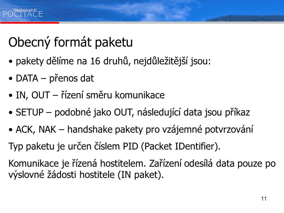 11 Obecný formát paketu pakety dělíme na 16 druhů, nejdůležitější jsou: DATA – přenos dat IN, OUT – řízení směru komunikace SETUP – podobné jako OUT,
