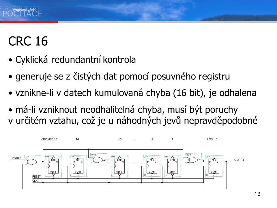 13 CRC 16 Cyklická redundantní kontrola generuje se z čistých dat pomocí posuvného registru vznikne-li v datech kumulovaná chyba (16 bit), je odhalena