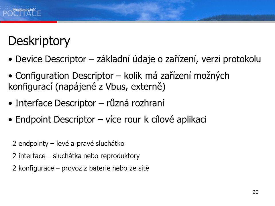 20 Deskriptory Device Descriptor – základní údaje o zařízení, verzi protokolu Configuration Descriptor – kolik má zařízení možných konfigurací (napáje