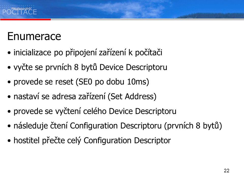 22 Enumerace inicializace po připojení zařízení k počítači vyčte se prvních 8 bytů Device Descriptoru provede se reset (SE0 po dobu 10ms) nastaví se a