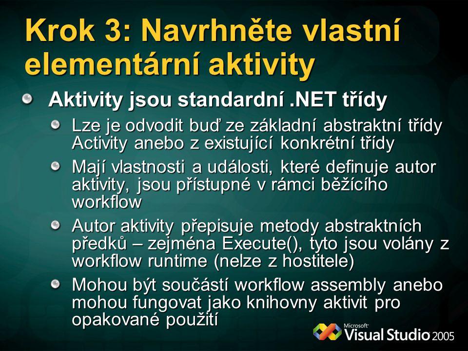 Krok 3: Navrhněte vlastní elementární aktivity Aktivity jsou standardní.NET třídy Lze je odvodit buď ze základní abstraktní třídy Activity anebo z existující konkrétní třídy Mají vlastnosti a události, které definuje autor aktivity, jsou přístupné v rámci běžícího workflow Autor aktivity přepisuje metody abstraktních předků – zejména Execute(), tyto jsou volány z workflow runtime (nelze z hostitele) Mohou být součástí workflow assembly anebo mohou fungovat jako knihovny aktivit pro opakované použití