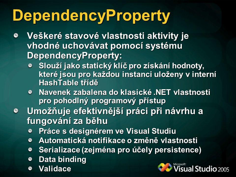 DependencyProperty Veškeré stavové vlastnosti aktivity je vhodné uchovávat pomocí systému DependencyProperty: Slouží jako statický klíč pro získání hodnoty, které jsou pro každou instanci uloženy v interní HashTable třídě Navenek zabalena do klasické.NET vlastnosti pro pohodlný programový přístup Umožňuje efektivnější práci při návrhu a fungování za běhu Práce s designérem ve Visual Studiu Automatická notifikace o změně vlastnosti Serializace (zejména pro účely persistence) Data binding Validace