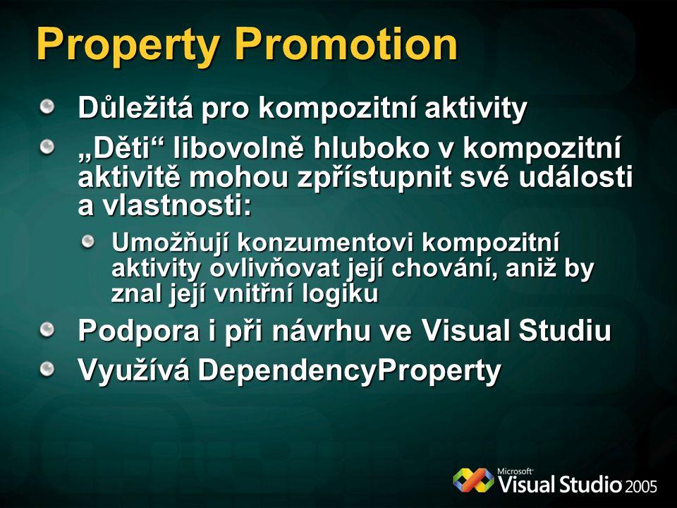 """Property Promotion Důležitá pro kompozitní aktivity """"Děti libovolně hluboko v kompozitní aktivitě mohou zpřístupnit své události a vlastnosti: Umožňují konzumentovi kompozitní aktivity ovlivňovat její chování, aniž by znal její vnitřní logiku Podpora i při návrhu ve Visual Studiu Využívá DependencyProperty"""
