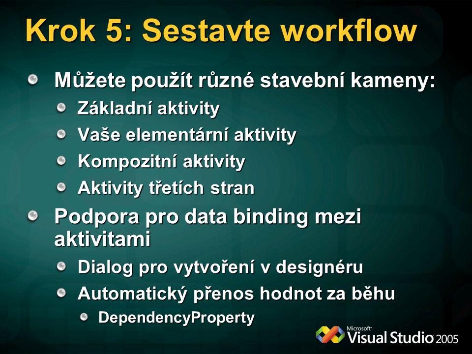 Krok 5: Sestavte workflow Můžete použít různé stavební kameny: Základní aktivity Vaše elementární aktivity Kompozitní aktivity Aktivity třetích stran Podpora pro data binding mezi aktivitami Dialog pro vytvoření v designéru Automatický přenos hodnot za běhu DependencyProperty