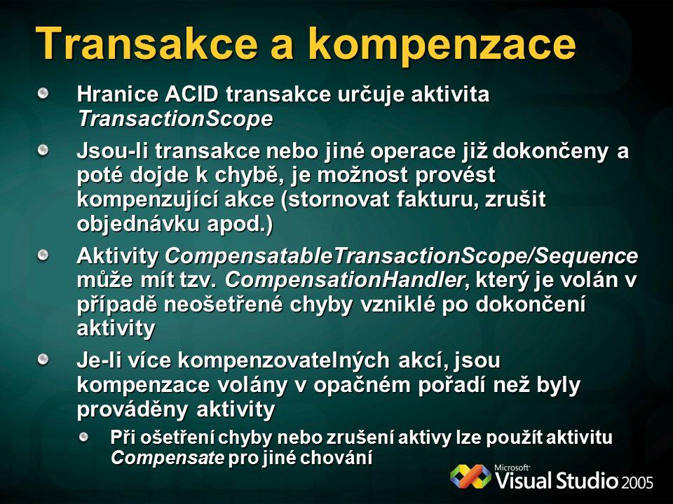 Transakce a kompenzace Hranice ACID transakce určuje aktivita TransactionScope Jsou-li transakce nebo jiné operace již dokončeny a poté dojde k chybě, je možnost provést kompenzující akce (stornovat fakturu, zrušit objednávku apod.) Aktivity CompensatableTransactionScope/Sequence může mít tzv.