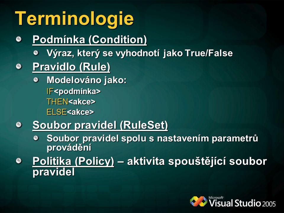 Terminologie Podmínka (Condition) Výraz, který se vyhodnotí jako True/False Pravidlo (Rule) Modelováno jako: IF IF THEN THEN ELSE ELSE Soubor pravidel (RuleSet) Soubor pravidel spolu s nastavením parametrů provádění Politika (Policy) – aktivita spouštějící soubor pravidel