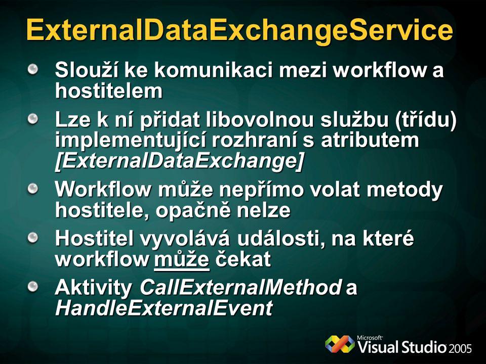 ExternalDataExchangeService Slouží ke komunikaci mezi workflow a hostitelem Lze k ní přidat libovolnou službu (třídu) implementující rozhraní s atributem [ExternalDataExchange] Workflow může nepřímo volat metody hostitele, opačně nelze Hostitel vyvolává události, na které workflow může čekat Aktivity CallExternalMethod a HandleExternalEvent