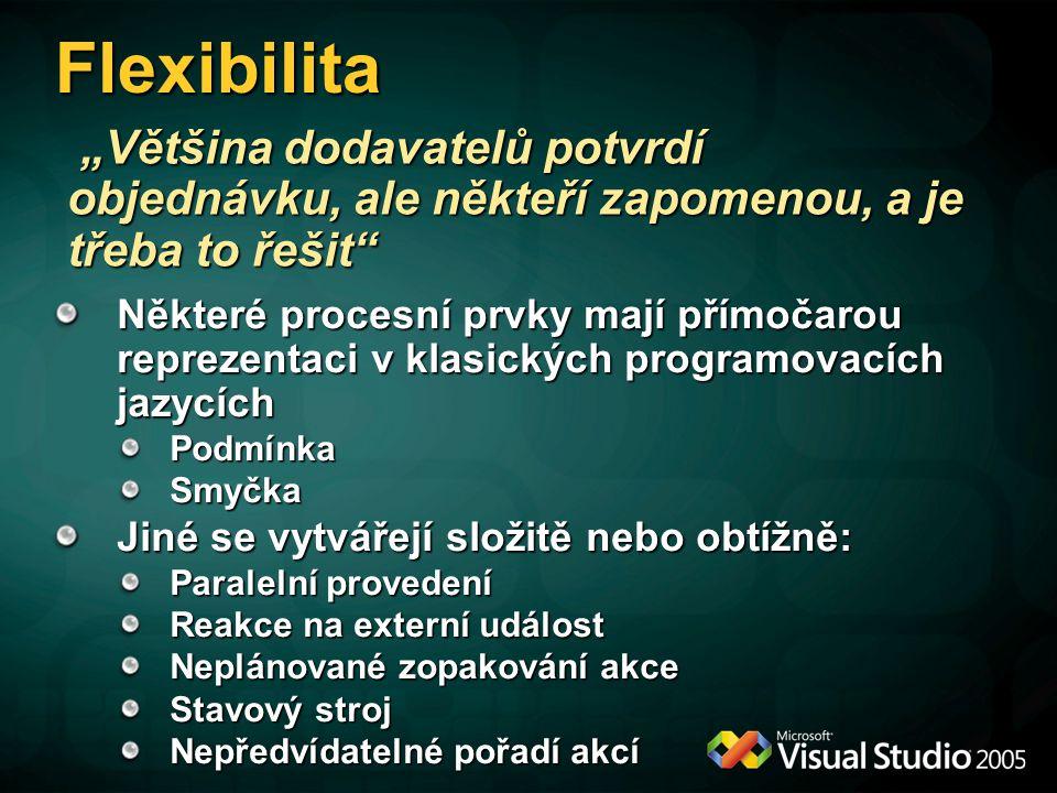 Flexibilita Některé procesní prvky mají přímočarou reprezentaci v klasických programovacích jazycích PodmínkaSmyčka Jiné se vytvářejí složitě nebo obt