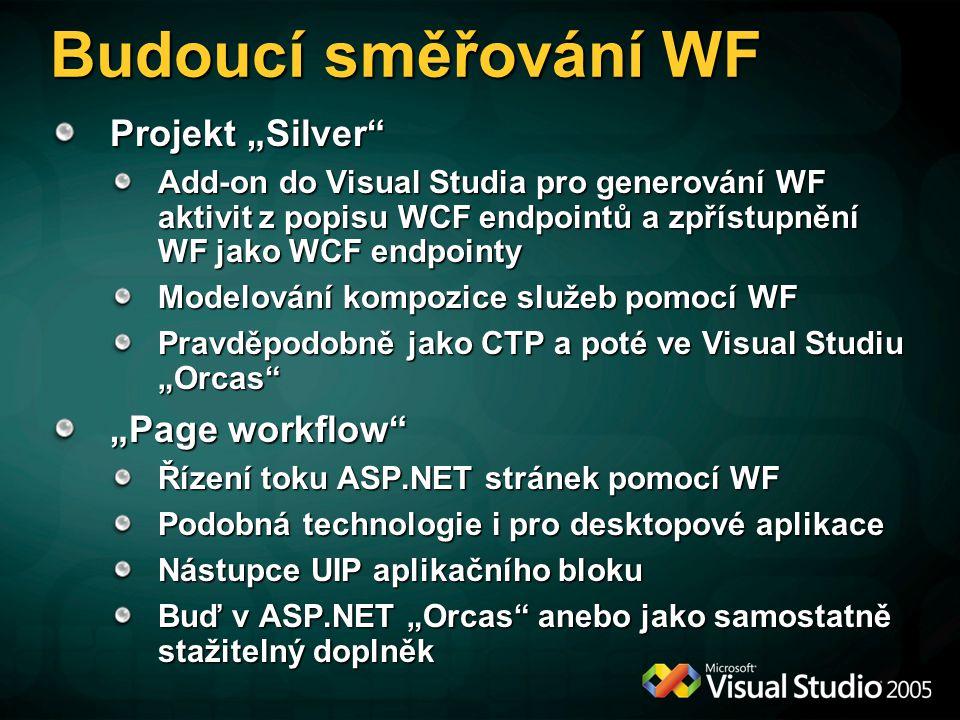 """Budoucí směřování WF Projekt """"Silver Add-on do Visual Studia pro generování WF aktivit z popisu WCF endpointů a zpřístupnění WF jako WCF endpointy Modelování kompozice služeb pomocí WF Pravděpodobně jako CTP a poté ve Visual Studiu """"Orcas """"Page workflow Řízení toku ASP.NET stránek pomocí WF Podobná technologie i pro desktopové aplikace Nástupce UIP aplikačního bloku Buď v ASP.NET """"Orcas anebo jako samostatně stažitelný doplněk"""