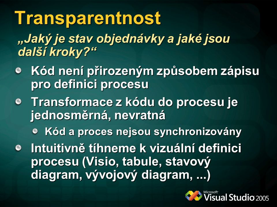 """Transparentnost Kód není přirozeným způsobem zápisu pro definici procesu Transformace z kódu do procesu je jednosměrná, nevratná Kód a proces nejsou synchronizovány Intuitivně tíhneme k vizuální definici procesu (Visio, tabule, stavový diagram, vývojový diagram,...) """"Jaký je stav objednávky a jaké jsou další kroky"""