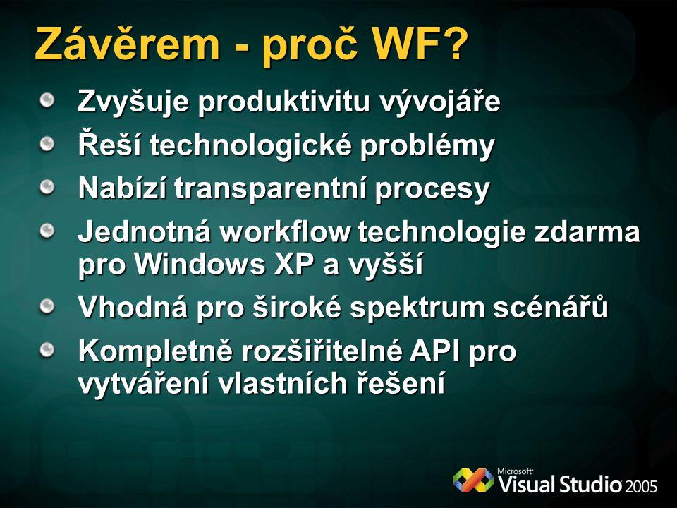 Závěrem - proč WF? Zvyšuje produktivitu vývojáře Řeší technologické problémy Nabízí transparentní procesy Jednotná workflow technologie zdarma pro Win