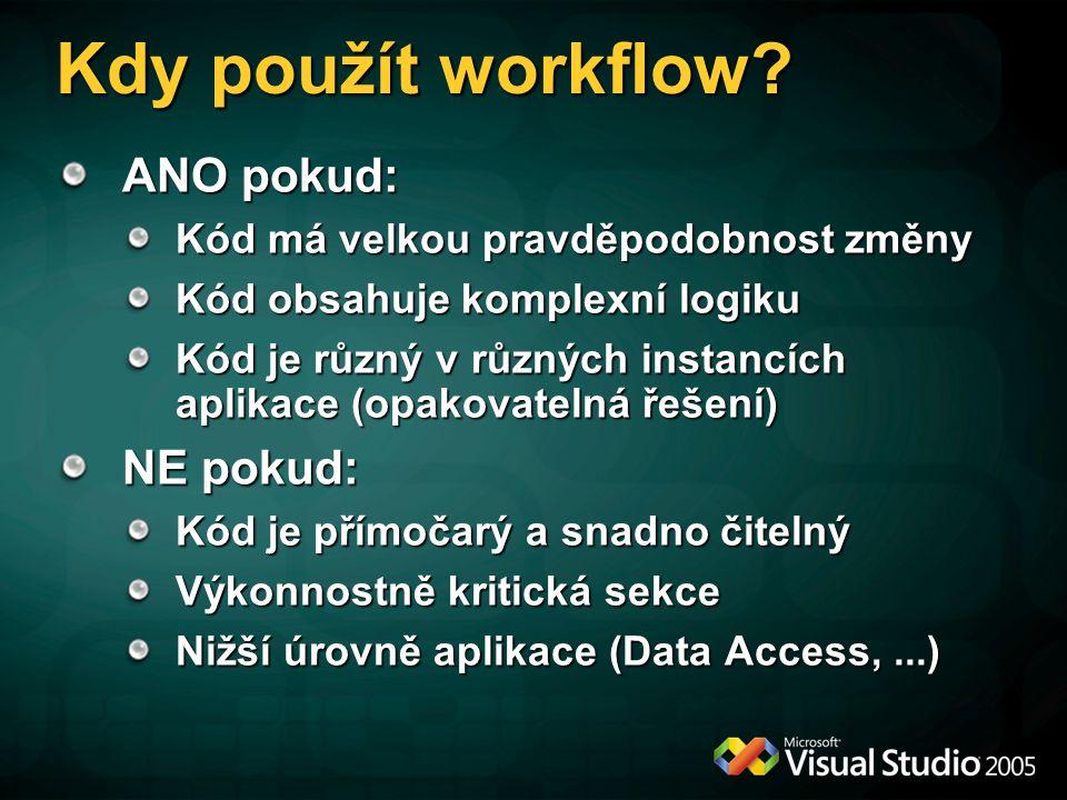 Kdy použít workflow? ANO pokud: Kód má velkou pravděpodobnost změny Kód obsahuje komplexní logiku Kód je různý v různých instancích aplikace (opakovat