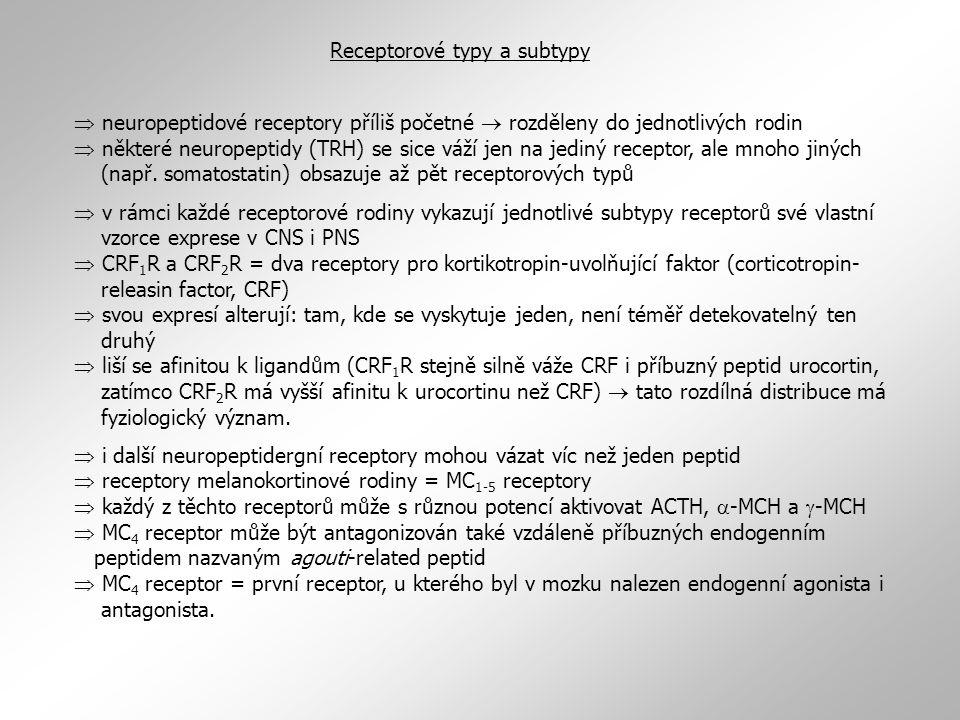 Receptorové typy a subtypy  neuropeptidové receptory příliš početné  rozděleny do jednotlivých rodin  některé neuropeptidy (TRH) se sice váží jen na jediný receptor, ale mnoho jiných (např.